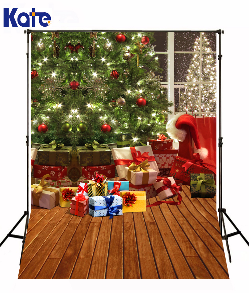 Kate Marry Christmas Photography Background Gift Red Hat Bell Backdrops Wood Floor Tree Fotografia for Baby Shoot Studio L-806 kate l fallen