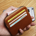 LANSPACE  men's leather wallet mini card holder  handmade coin purses holders