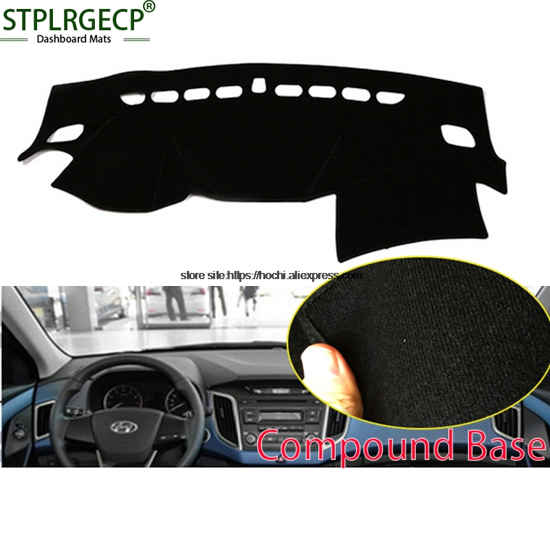 STPLRGECP double layer Black Dash Mat For Hyundai ix25 2014-2016 Dashmat Black Carpet Car Dashboard Automotive interior Mats stplrgecp double layer black dash mat