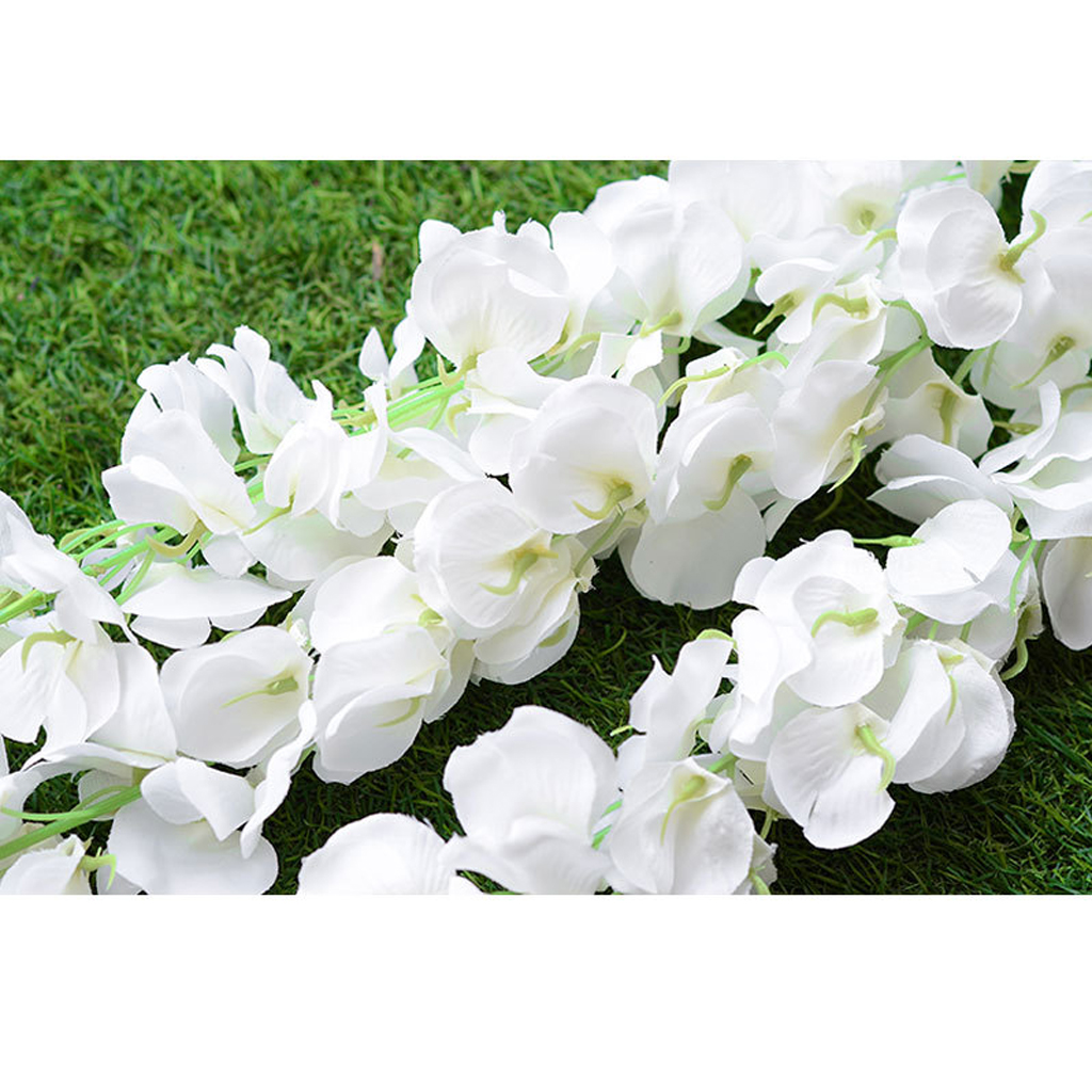 New 140cm Artificial Wall Hanging Vine Simulation Wisteria Flower Decor White Decorations Festive Wedding Party Favor