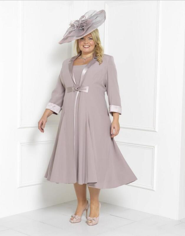 Mother Of The Bride Dresses Tea Length Scoop Neck Chiffon 2 Pieces Plus Size New