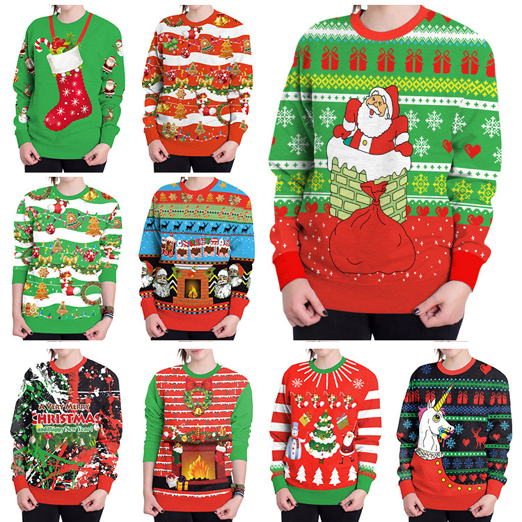 2018New Arrival Stylish Unisex Christmas Sweater Sweatershirt Men Women Novelty Ugly Female Tops Clothes