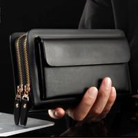 Men Leather Double Zipper Wallet Long Purse Handbag Money Holder Clip Clutch Bag Waterproof Wear Resistant Wallet Men