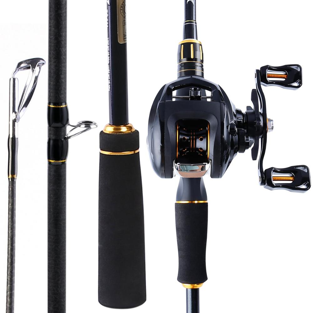 Sougayilang 4 Sections 2 12m Fishing Rod and Baitcasting Reel High quality Carbon and Casting Fishing