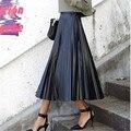 Европейский стиль женщины плиссированные юбки нового зимнего ретро женская одежда черный PU кожаная юбка в складку макси юбка Faldas C1540