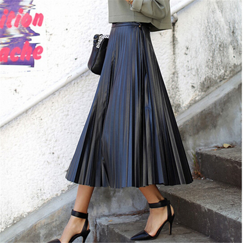 Long Black Pleated Skirt Fashion Skirts