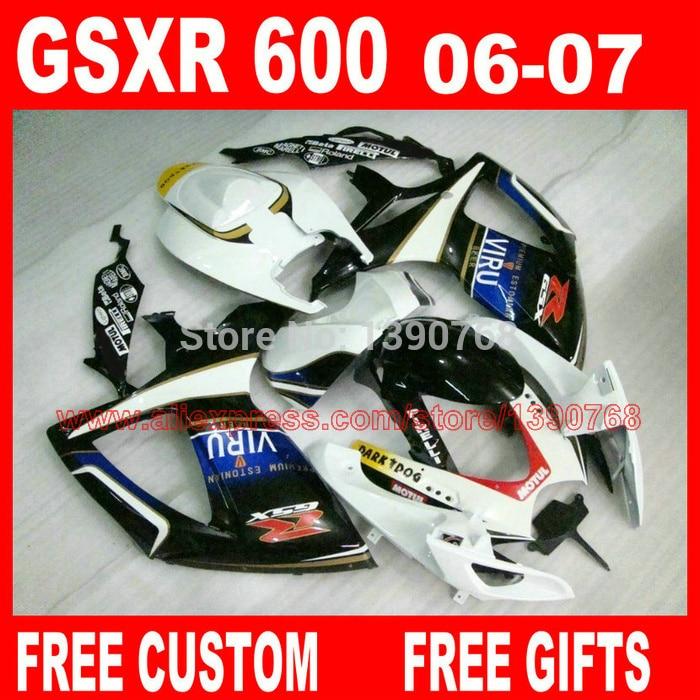 fairing body kits for SUZUKI K6 K7 gsxr600 gsxr750 2006 2007 white black fairings set GSXR600 06 GSXR750 07 X667 new motorcycle ram air intake tube duct for suzuki gsxr600 gsxr750 2006 2007 k6 abs plastic black