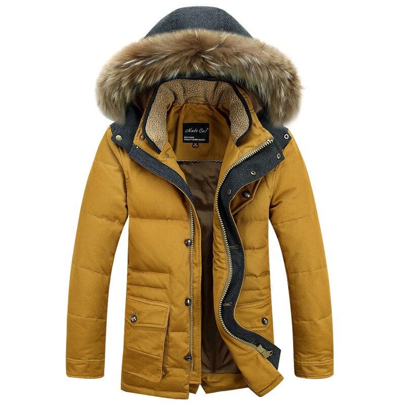 Средней длины, толстый теплый heren Jassen На зимнем меху воротник съемный капюшон утка Подпушка куртка Для мужчин