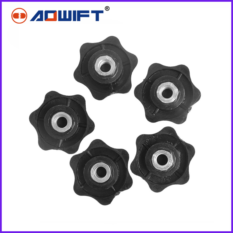5/10pcs Black Plastic M6 6mm Female Thread Star Shaped Head Clamping Nuts Knob 5pcs m6 x 40mm female thread clamping knobs 6mm thread 40mm head dia 7 star shaped through hole clamping nuts knob