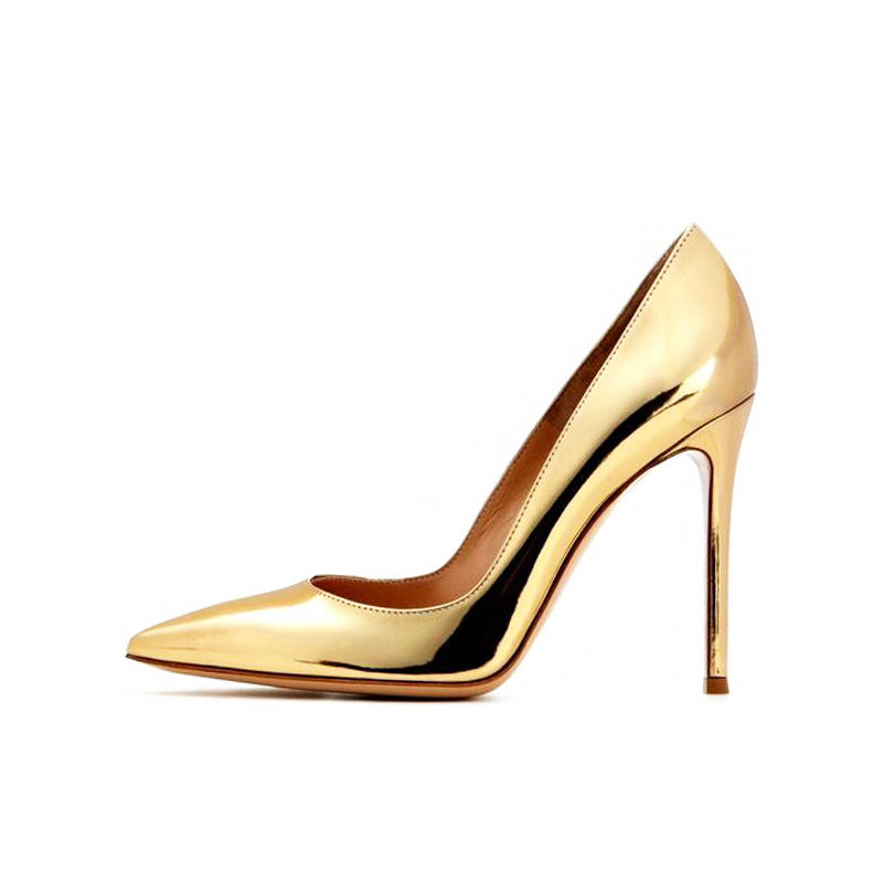 Gold Patent Leather High Heel Pumps Pointy Toe Slip-on Office Lady Dress Shoes 12CM Wedding Bride Dress For Women Spring Shoes sequined high heel stilettos wedding bridal pumps shoes womens pointed toe 12cm high heel slip on sequins wedding shoes pumps