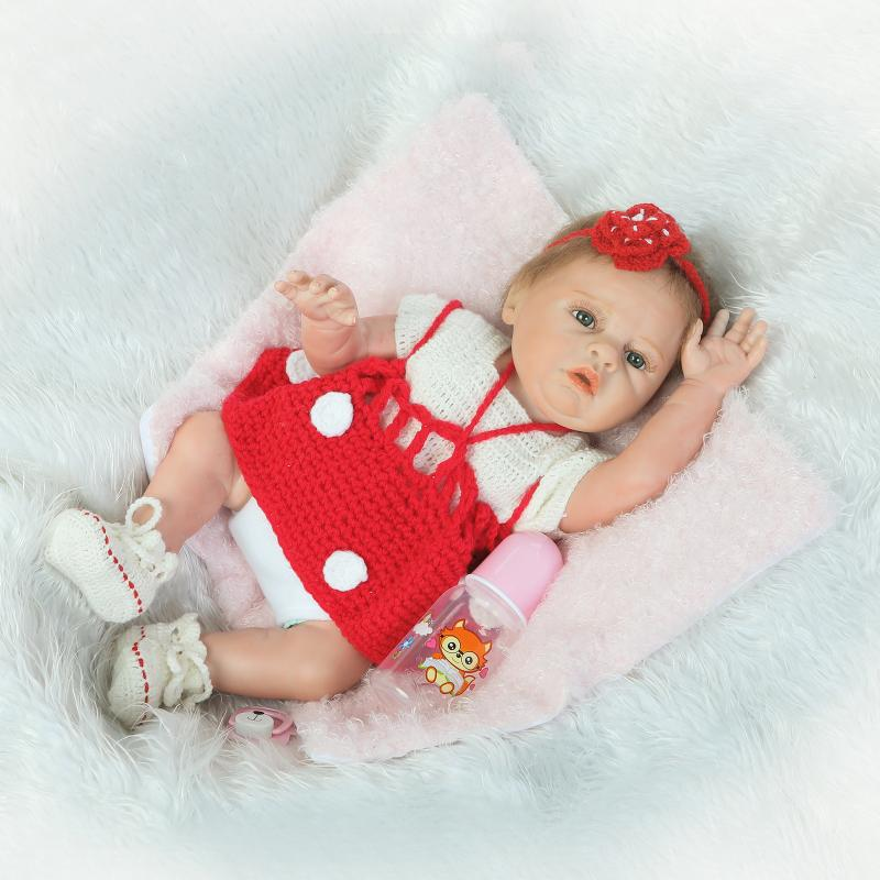 NPK Bebe Reborn Doll full body silicone 50cm lifelike baby girl Wear Red sweater dress shower dolls Children Toys brinquedos npk 50cm 100% full silicone silicone reborn baby girl dolls lifelike fake baby doll bebe alive reborn bonecas children toys
