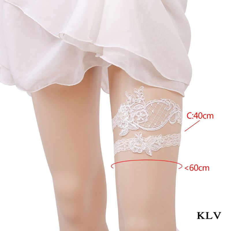 KLV Women Hollow Mesh Wedding Thigh Ring Set Embroidered Floral Lace Elastic Imitation Pearl Princess Bridal Seamless Leg Garter
