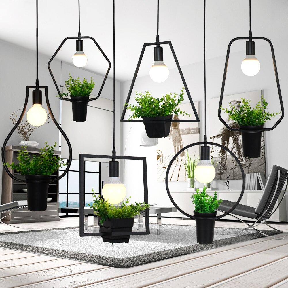 Industrial Moderna Ferro Forjado Luzes Pingente Modernos Com Verde