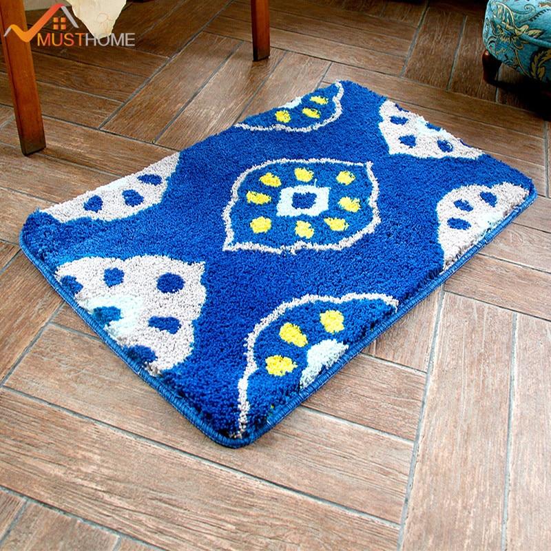 Blue lotus root thick microfiber floor door mat for bathroom 15.7Wx23.6L/40x60cm Free Shipping