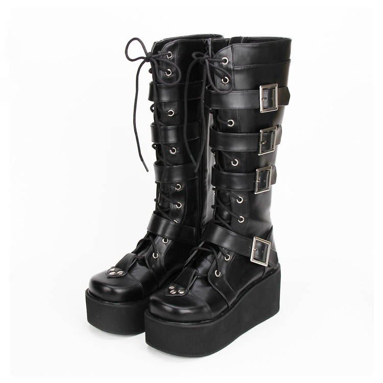 Princess sweet punk shoes Custom Japanese students punk thick bottom COS boots high boots lace zipper Muffin women pu9708 princess sweet punk shoes japanese summer and spring round head boots cos anime punk super high heel frill muffin boots pu9712
