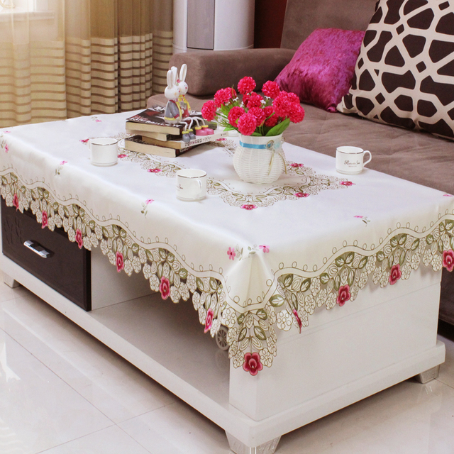 Elegant White Red Rectangular Tablecloth with Lace Embroidered Floral