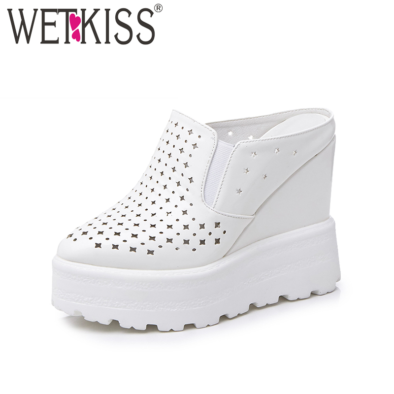 WETKISS 2018 Fashion Solid Slippers Rounded toe Hollow Polka Doa Mules Shoes Women High Wedges Flatform Summer Cozy Slides chic golden hollow rounded rectangle hasp bracelet for women