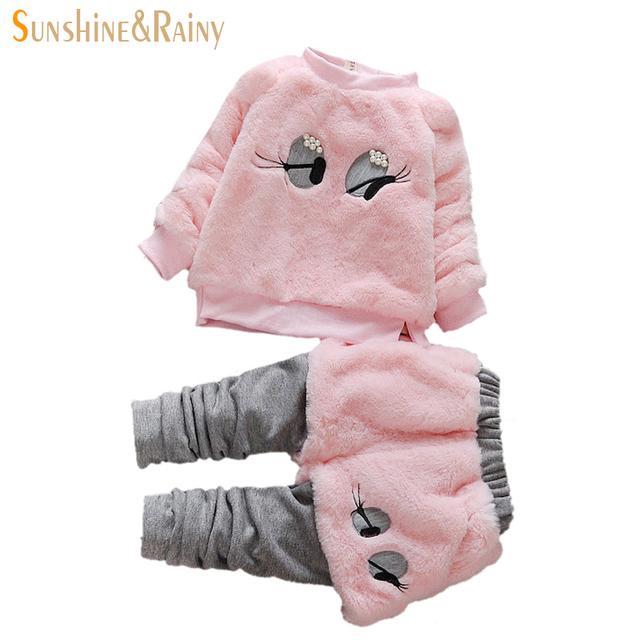 Pérolas de moda Olhos Cílios Longos Camisola + Calças Ternos Crianças Outono Inverno Conjuntos de roupas 2 Pcs Meninas Grossas Crianças roupas Meninas