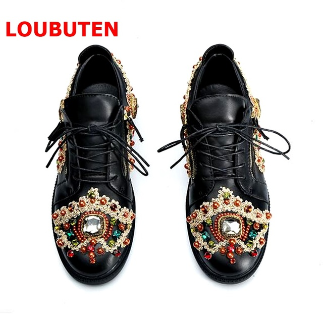 LOUBUTEN 2018 Fashion Show Black Leather Shoes Men Mixed-color Rhinestone Sneakers Luxury Lace-up Beading Hip Hop Shoes
