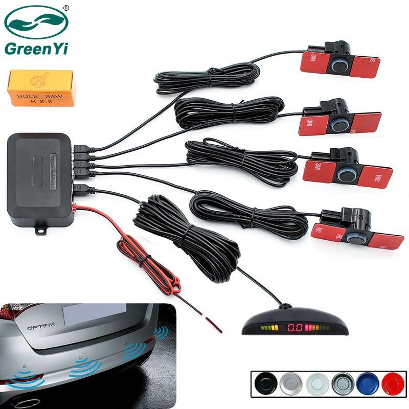 Greenyi LED Дисплей автомобиля автомобиль Обратный резервного копирования Радар Системы с 4 шт. 16 мм без каблука Сенсоры парковочные 12 В для всех автомобили