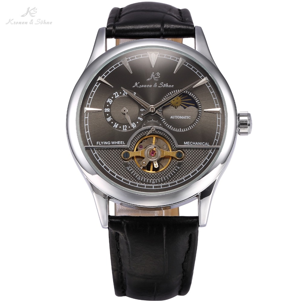 KS Brand New 24 Hours Display Self Wind Relogio Leather Band Analog Male Automatic Mechanical Clock Wrist Men Casual Watch/KS228 jaragar date display mechanical watch men automatic self wind analog wrist watches stainless steel band classic men s clock box