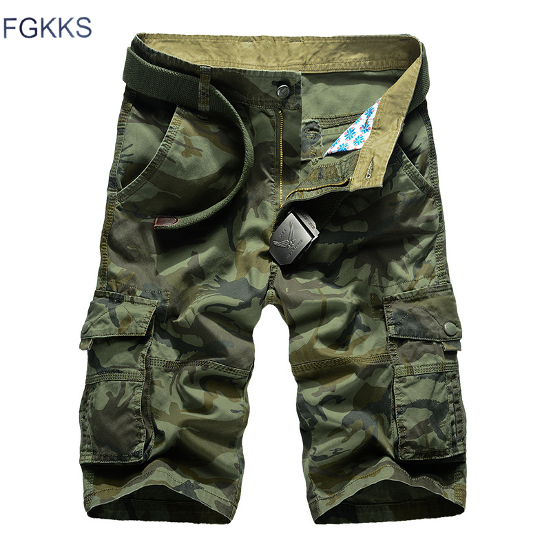 FGKKS Brand Men Military Cargo   Shorts   2019 Summer Male Camouflage Pure Cotton Comfortable   Short   Men Tactical Cargo   Short   No belt