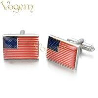 VOGEM American Flag Cufflinks For Mens Shirt Red Deep Blue Colors Zinc Alloy Cuff Buttons High