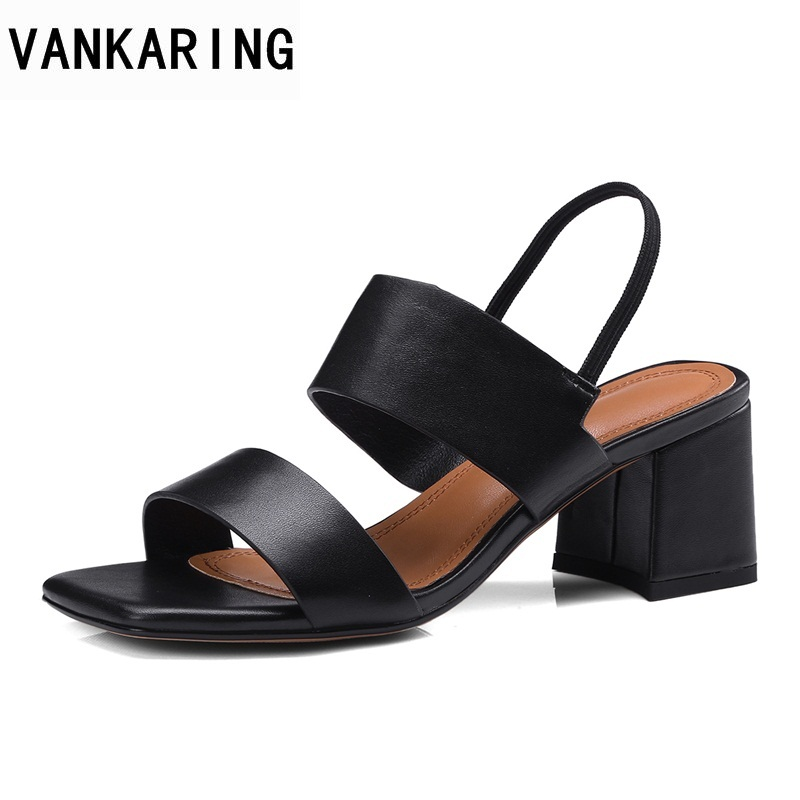 VANKARING women sandals new 2018 summer fashion middle heels open toe shoes genuine leather classic black platform sandals shoes classic leather sandals classic leather sandals women sandals summer sandals