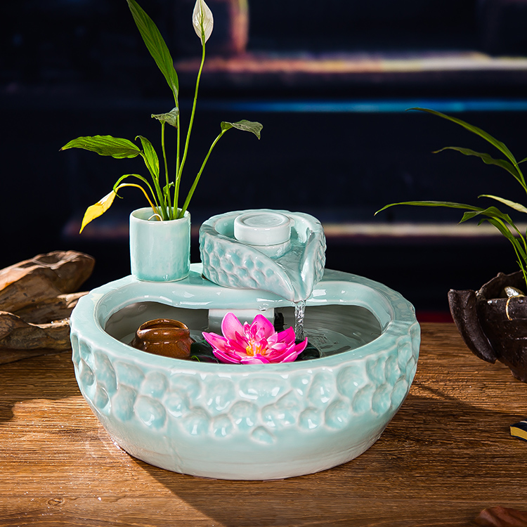 Ceramic Water Fountain Decoration Home Furnishing Living Room Feng Shui Garden Waterscape Wheel