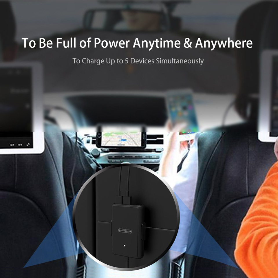 Купить с кэшбэком NTONPOWER 5 Ports USB  QC 3.0 Car Charger with 1.8m Extension Cable with Detachable Clip For Mobile Phone Tablet GPS Car-Charger