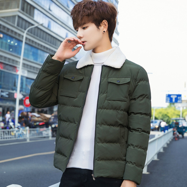 9c6abc4bc5a Winter Jacket Men New Men s Korean Version Cotton Clothes Thickened L Trend  Solid Color Jackets   Coats Youth Fashion Parka