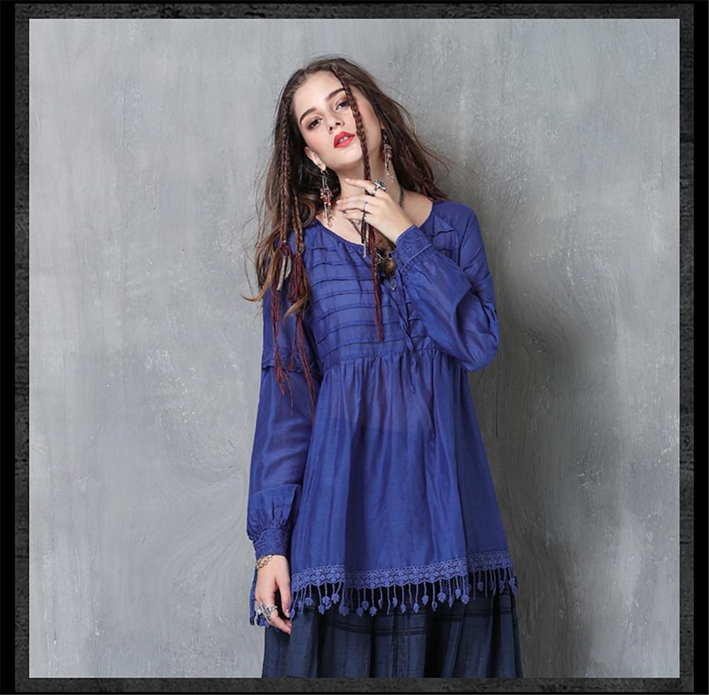 Vintage Women Slik Tassel Blouse 2019 Autumn Silk Women's Blouse Shirts Cotton Pullover Blouses Solid Dark Blue Top B9225 (10)