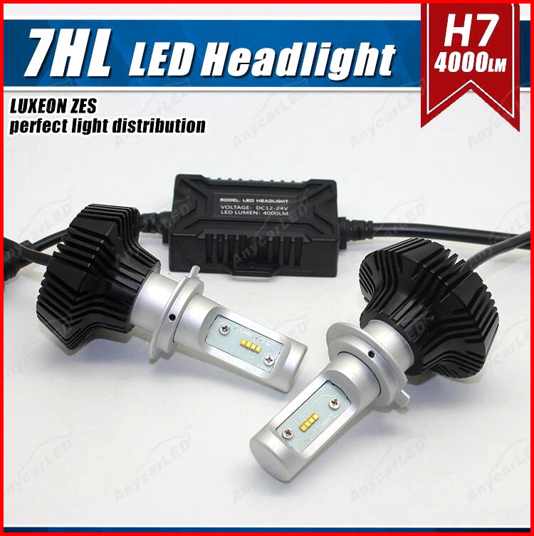 1 Set H7 50W 8000LM G7 LED Headlight Kit LUMILED LUXEON ZES 16LED SMD Chips Fanless 6500K Xenon White Driving Fog DRL Lamp Bulb 1 set 9012 hir2 50w 4000lm 5s led headlight kit lumiled luxeon zes 12led smd chip fanless 6500k driving fog lamp bulb hid haloge