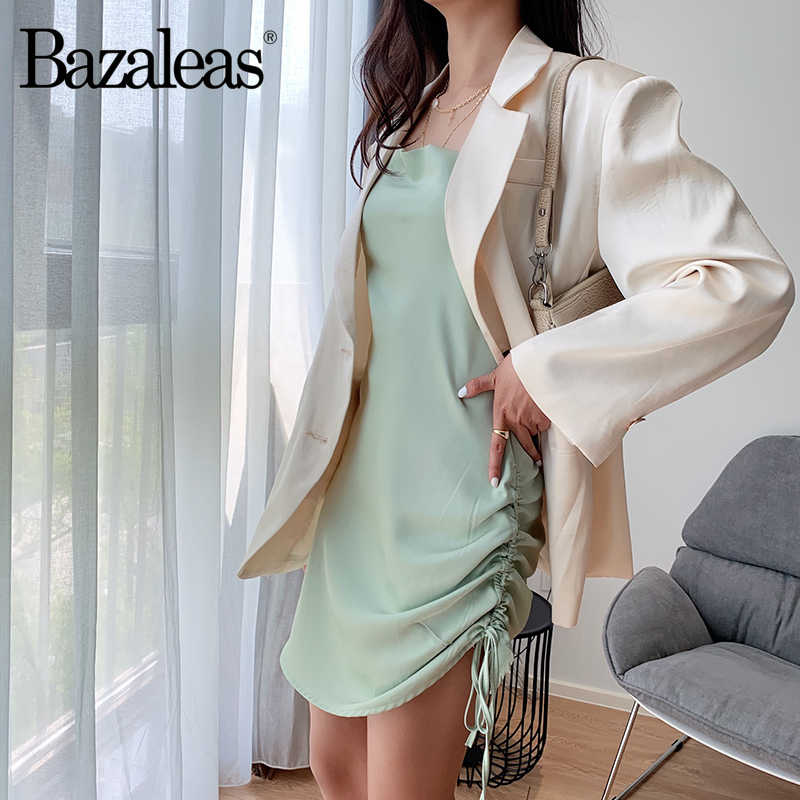 Bazaleas, шелковое летнее обтягивающее летнее платье на бретельках, винтажное модное атласное пляжное платье на завязках по бокам, Прямая поставка