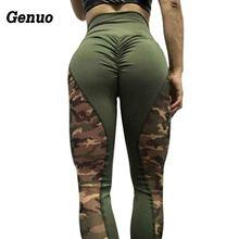 Genuo Camouflage Patchwork Leggings Women High Waist Sportswear Female Printed Push Up Fitness Leggins S-2XL