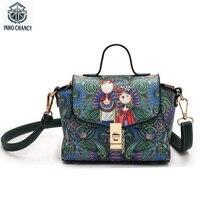 INHO CHANCY Special Offer 3D Digital Printing Women Handbag Retro Ancient PU Leather Female ShoulderMessenger Bag