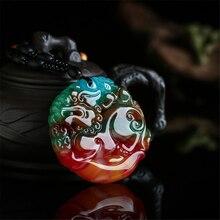 Incrível china pedra colorida natural mão esculpida pixiu pingente masculino e feminino amuleto sorte colar para atrair riqueza dropship