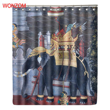 WONZOM 3D Elephant Shower Curtains For Bathroom Decor Modern Animal Polyester Fabric Bath Waterproof Curtain with 12 Hooks