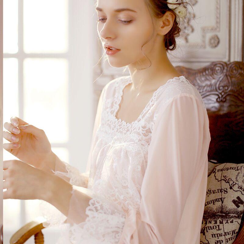 CFYH   Nightgowns     Sleepshirt   2018 Lace Sleepwear Vintage Nightdress Indoor Clothing Nightwear Solid   Nightgown   Female Home Dress