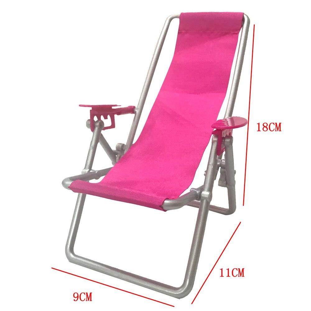 NK One Pcs Doll Plastic Accessories Princes Doll  Beach Folding Chair Dream House Sofa Armchair Furniture For Barbie Doll  DZ