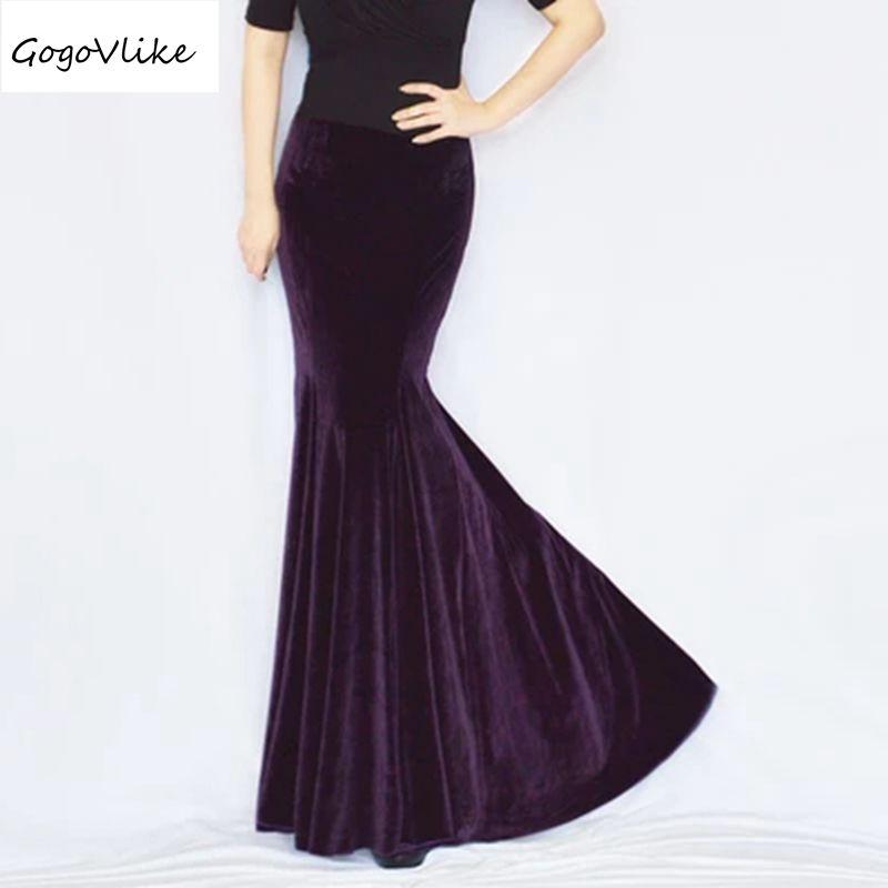 Jupe longue sirène jupe queue de poisson serrée pour femme vintage velours élégant paquet hanche slim jupe formelle