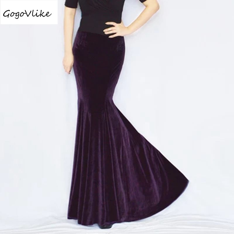 Long mermaid skirt Women's tight fish tail skirt vintage velvet elegant package hip slim formal skirt