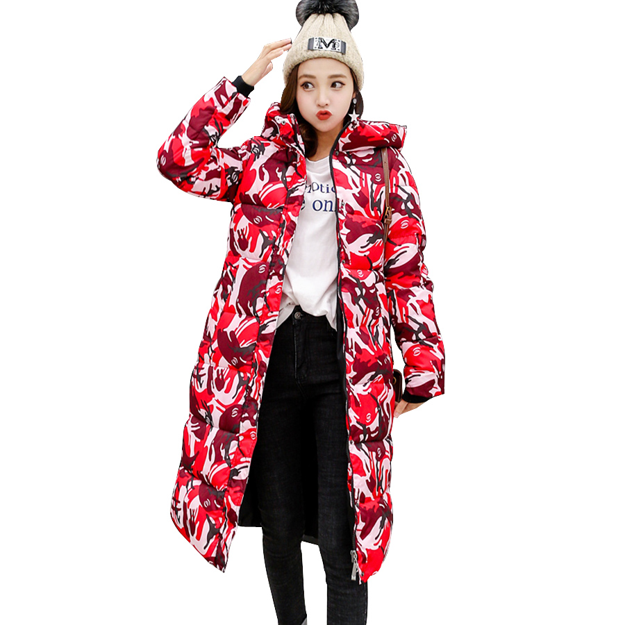 Mandadi 2018 Winter jacket women casual print Long   Parkas   winter coat women abrigo mujer hooded cotton padded outwear coats