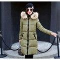 Зима Женщины Моды Длинный Толстый Теплый Вниз Хлопка Куртка Женщин плюс Размер Высокое Качество Меховой Воротник Пальто Женщины Шинель куртка WWF18
