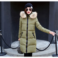 Invierno Mujer Moda Largo de Espesor Caliente Hacia Abajo Chaqueta de Algodón de Las Mujeres más el Tamaño de Alta Calidad Abrigo de Cuello de Piel Abrigo Parka WWF18