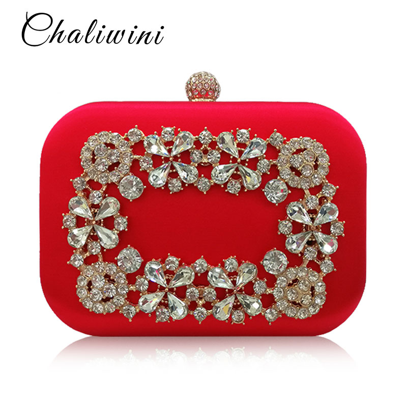 Lady Wedding Handbags Flower Crystal Diamond Femme Messenger Bags Day Clutches With Chains Women Evening Bags Vegan Wallet
