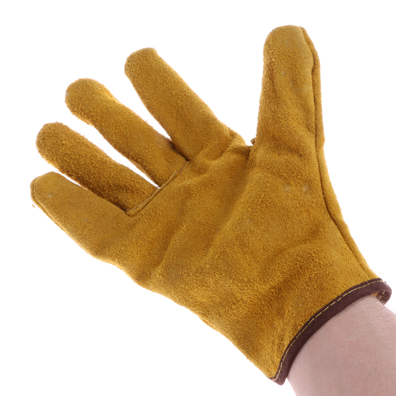 1Pair Cowhide Safety Protective Gloves Welding Welder Work Repair Wear-Resistant