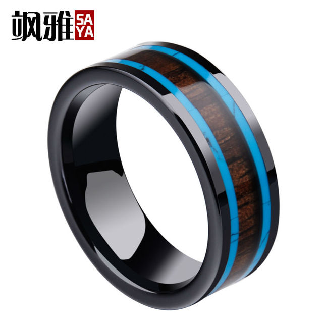 New Fashion Black Man's Ring Hi-Tech Ceramic Band 8mm Width Inlay Wood and Turquosie Surface Size 7-11 for Anniversary