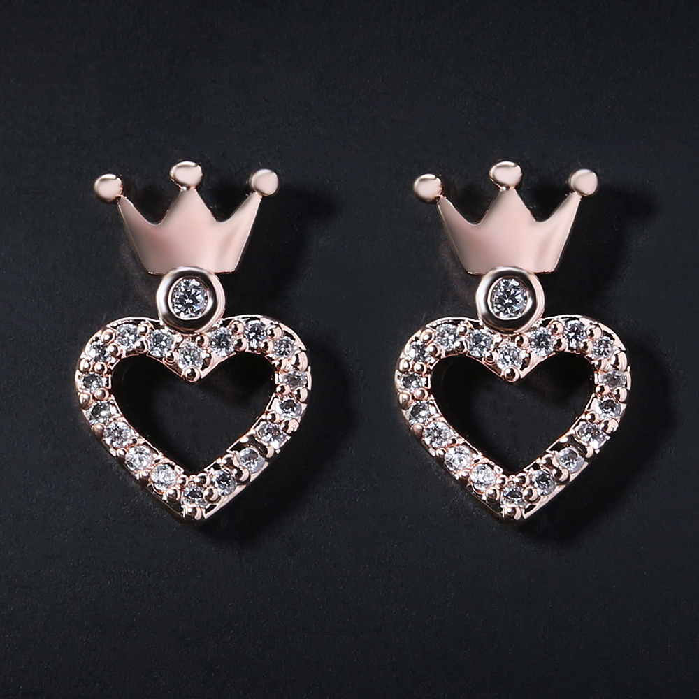 Women Crown Stud Earring Rose Gold Color Jewelry Paved Austrian Crystal Heart Earrings Girls Top Quality Alloy with Steel Pin