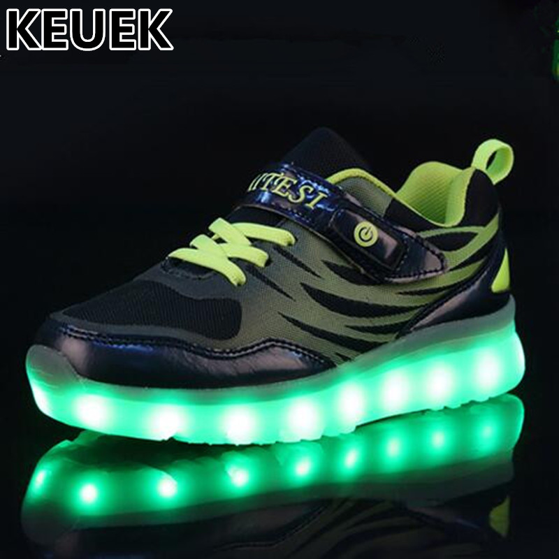 NEW Child Glowing Sneakers Student LED Light Shoes Kids Boys Girls USB Luminous Mesh Shoes Children Lighted Switch charging 04 2018 new kids glowing sneakers with light spiderman usb charging luminous lighted sneakers boy girls colorful led children shoes